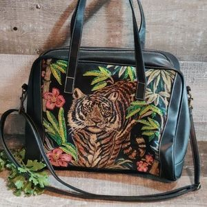 Vintage Large Tiger beaded tapestry handbag